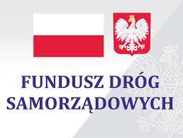 Grafika przedstawia polską flagę, godło oraz tekst - Fundusz Dróg Samorządowych.